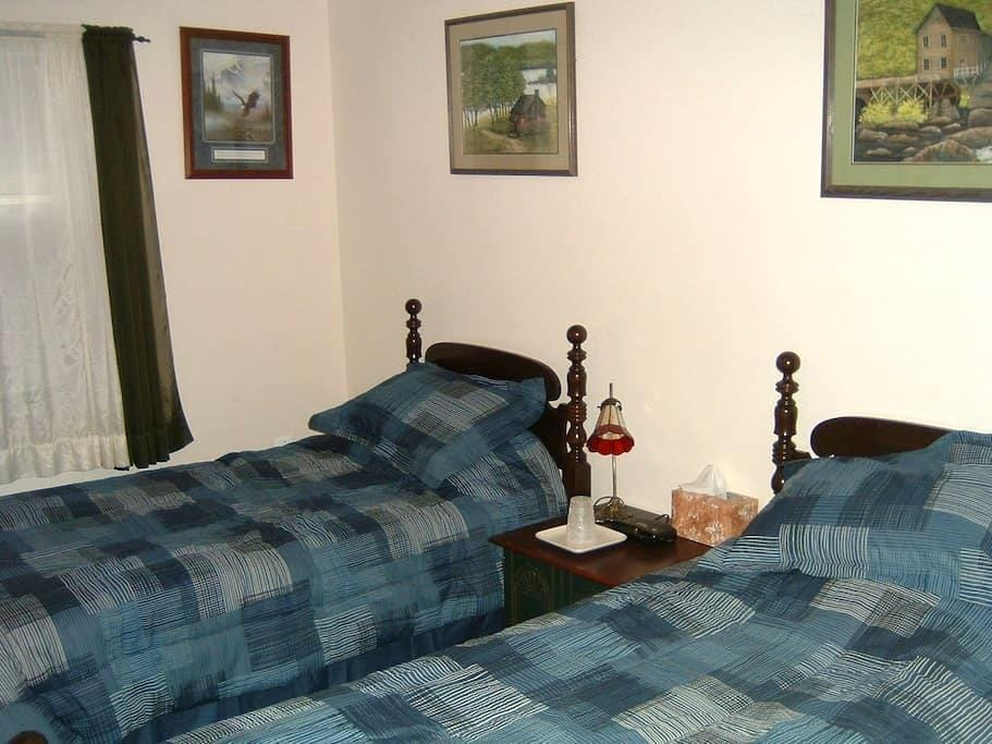This is a room with 2 single beds. - Monroe - Hus
