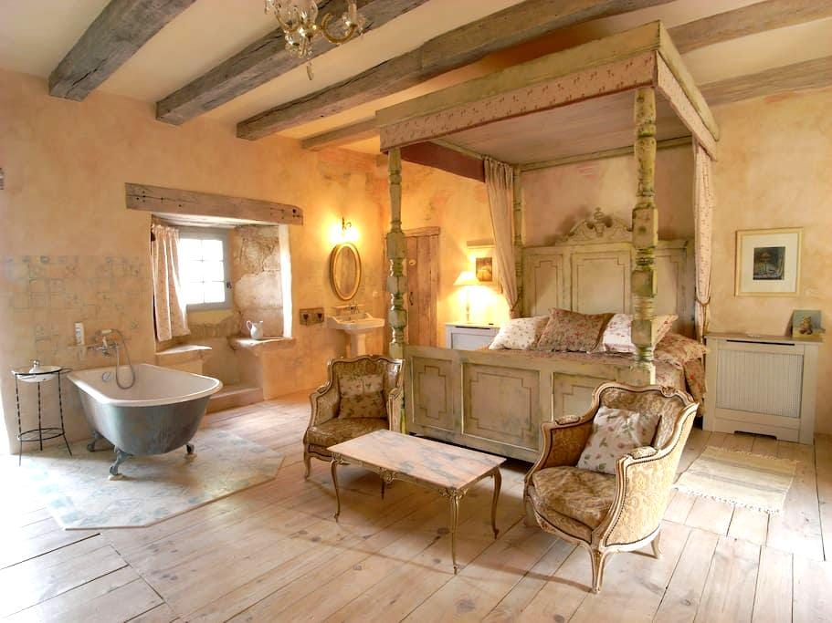 Unique, airy four-poster bedroom. - Lamonzie-Montastruc - Bed & Breakfast