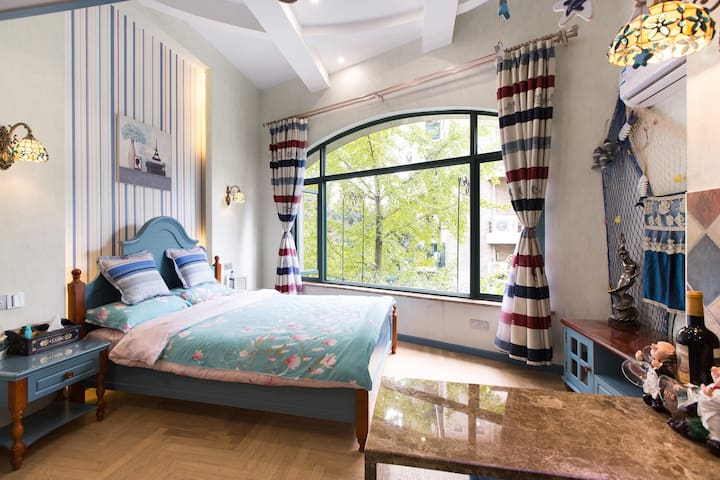 毗邻西溪湿地灵隐LOFT精装修单身公寓—紫庭雅舍地中海 - Hangzhou - Lägenhet