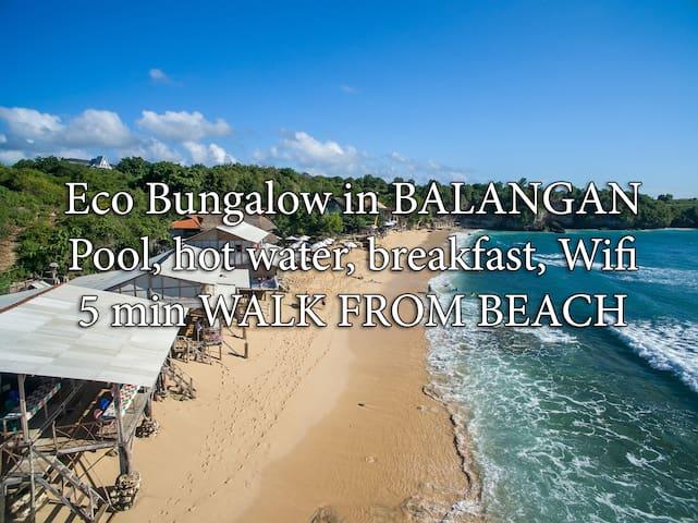 QUIET BUNGALOW - 5min to beach, wifi, pool, bfst B - South Kuta