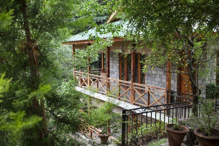 Scenic Private Room in a Riverside Forest - Manali - Stuga
