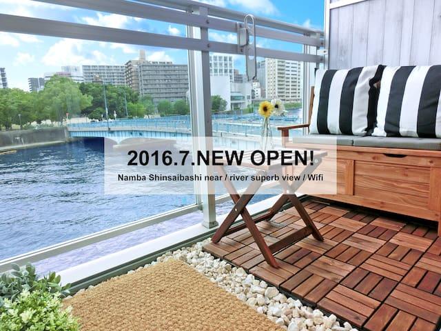 ★Namba Shinsaibashi 3min / river superb view/Wifi★ - Osaka - Departamento