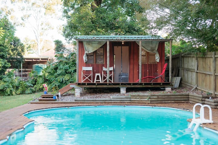 Cabin overlooking swimming pool - Berowra - Huis