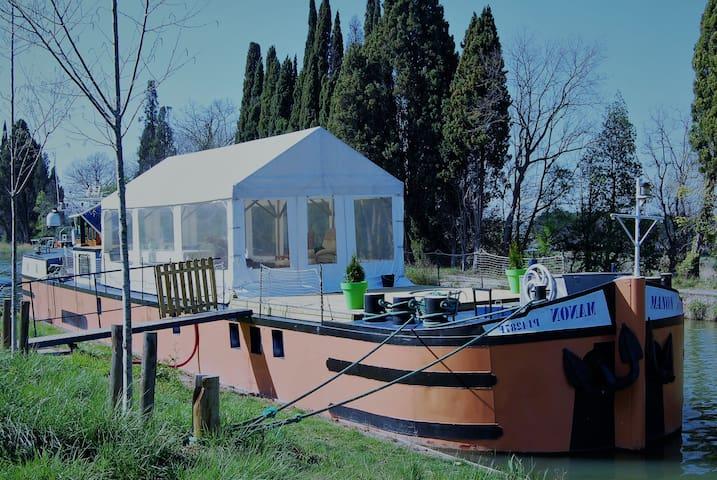 Péniche habitation à quai sur le Canal du Midi - Marseillette - Tekne