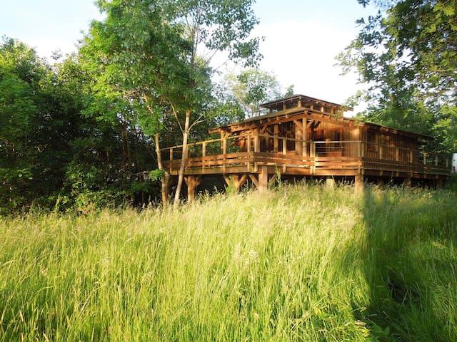 Cabane de charme tout confort, terrasse sur étang - Chenaud