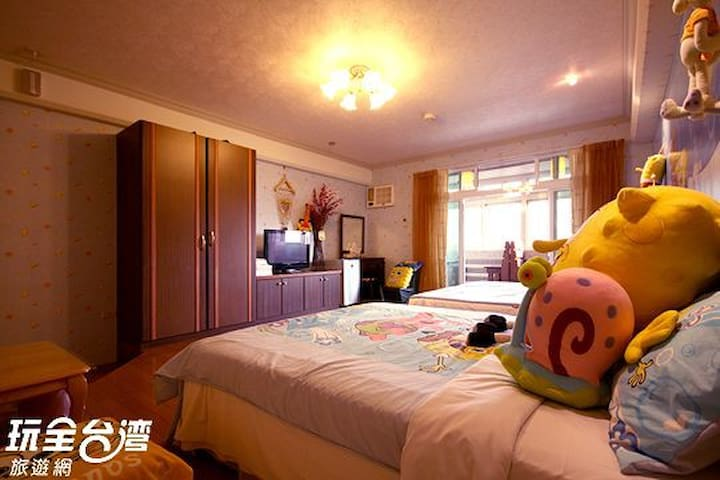 316海綿寶貝~櫻花鐵道景觀套房(標準六人房) - Jiji Township - Appartement
