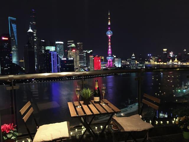 【TOP】180度全江景套房 俯瞰外滩陆家嘴 130平超豪华 - 上海 - Appartamento