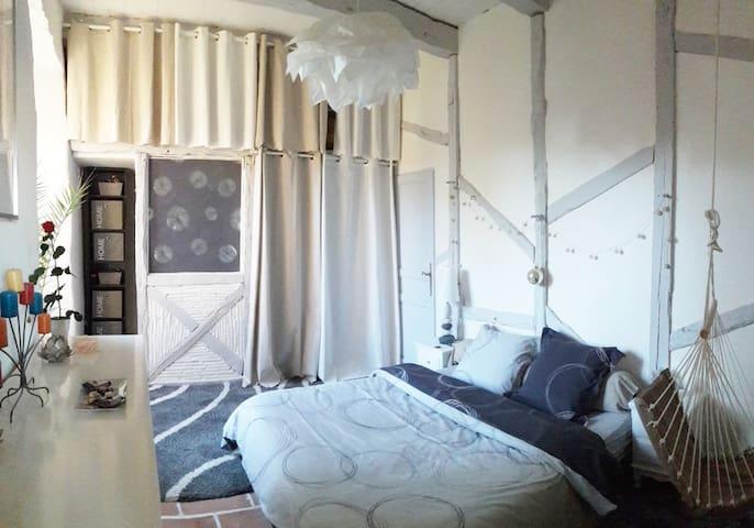 Chambre de charme grise dans manoir - Puylagarde