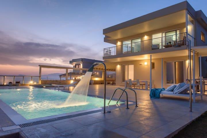 Sunset view villa above unspoiled Kalamaki vill... - Iraklio
