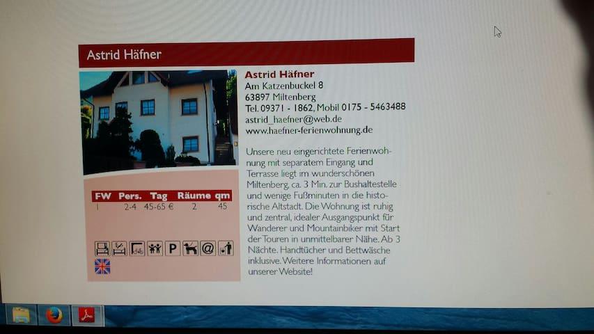 Ferienwohnung Häfner  in Miltenberg - Miltenberg