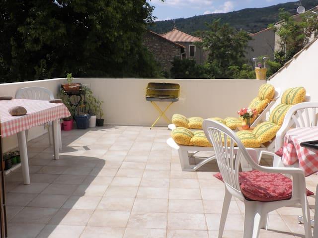 Sunny roof terrace house in rural village - Causses-et-Veyran - Hus