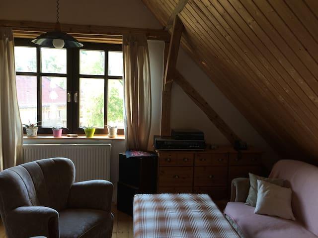 Gemütliches Zimmer mit Blick auf zwei Bergfriede - Kohren-Sahlis