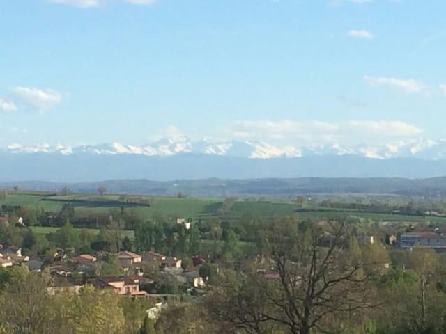Cadre verdoyant avec piscine, vue Pyrénées... - Venerque - Vila
