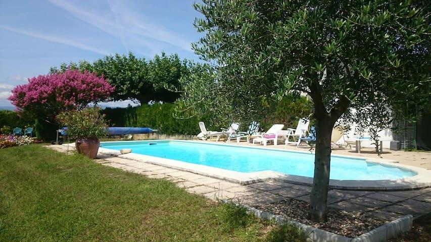 maison campagne piscine,verger,parc - Anneyron - Casa