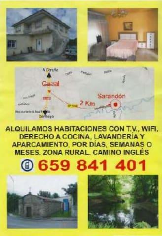 Habitaciones a 2 Km de Carral y  15 km de A Coruña - Abegondo - Casa