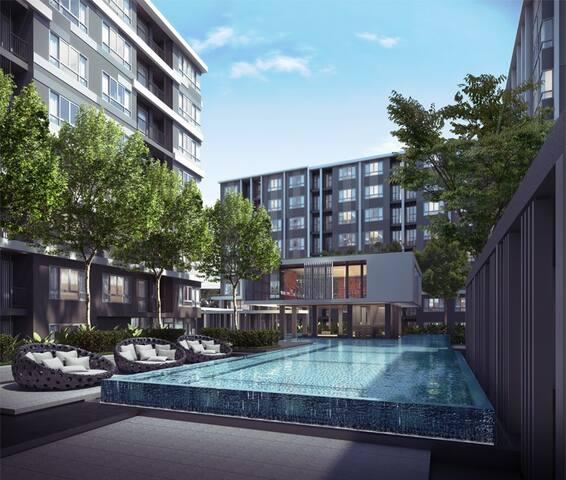 Super peaceful & spacious 1 BR  Apt - Tambon Sam Rong Nua - Apartemen