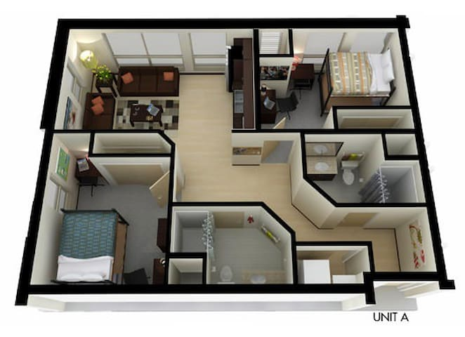 Private bedroom&Bathroom, Camp Randall, Union Sout - Madison - Appartement
