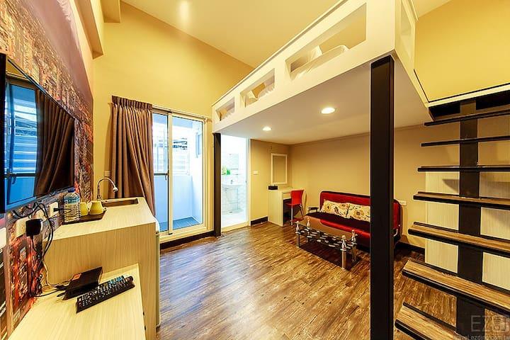 佳家.52巷(樓中樓雙人房A2.兩單床) - 台南市 - Haus