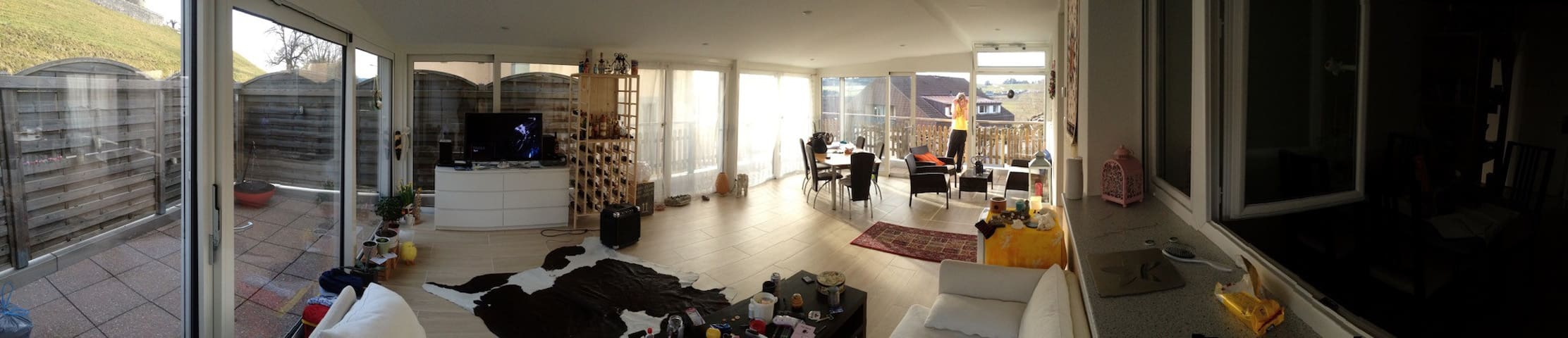 1BR in large panoramic appartment with terrace - Romont