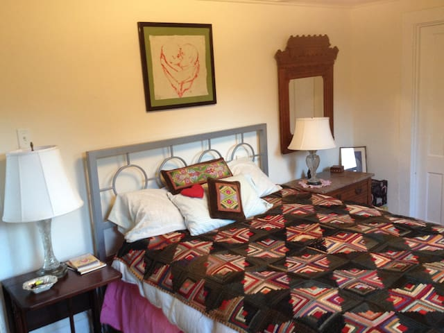 queen size bed in a cozy fun riverside apartment - Great Barrington - 公寓