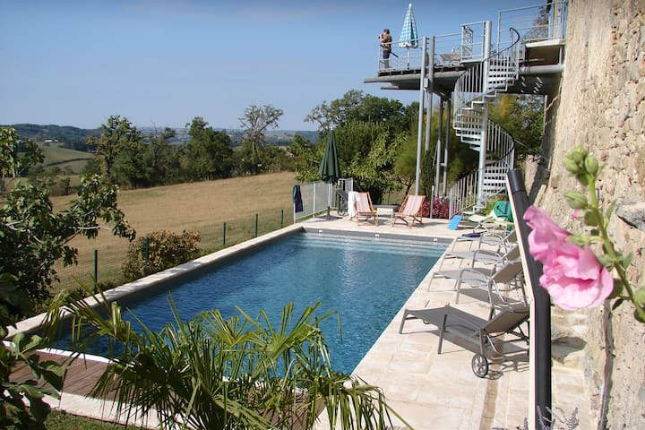 Sunny farmhouse with private pool - Lunac - Casa