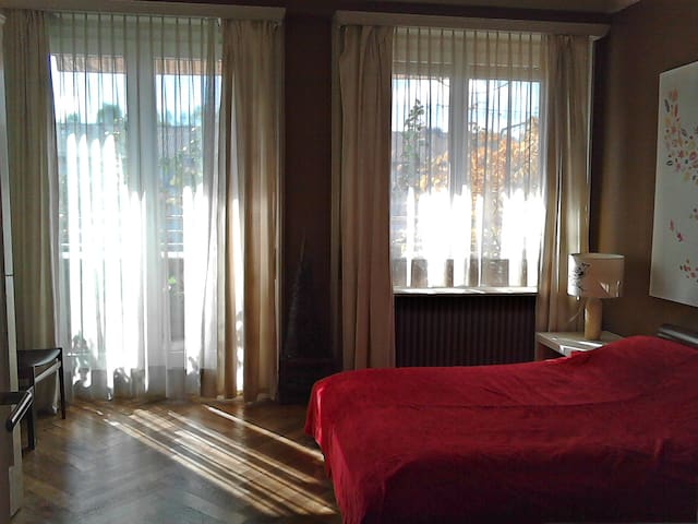 Big sunny bedroom with balcony - Geneve - Leilighet