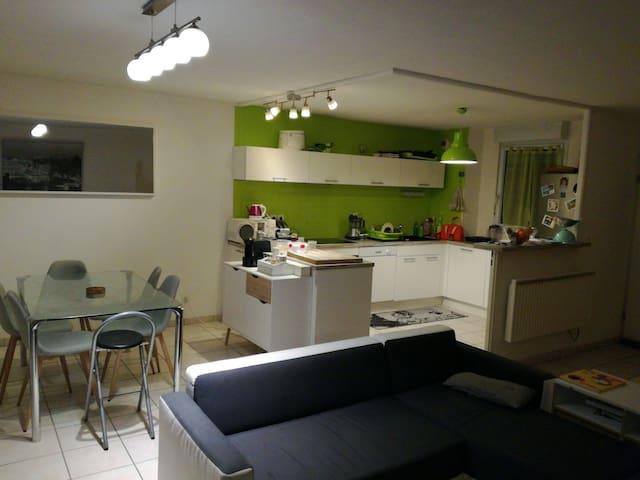 Chambre avec bureau et meuble de rangement.Lit 2 P - Montauban - Villa