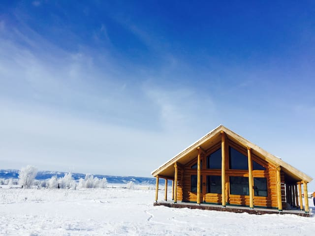 Log Home W Spectacular 4 Peak Views - Driggs - Huis