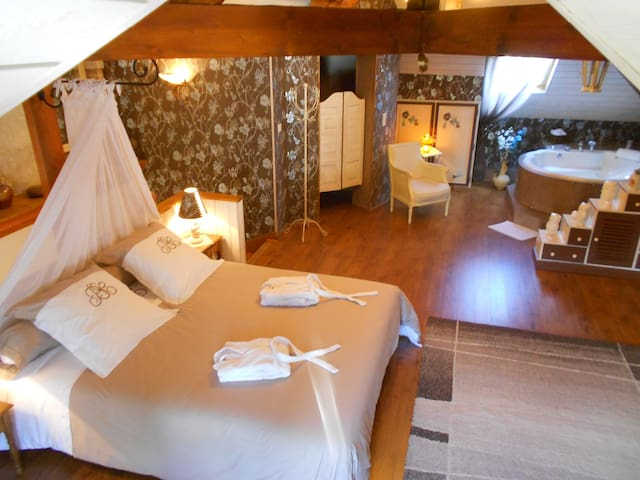 Suite romantique balneo billard, entrée ext privée - Tavers - Oda + Kahvaltı