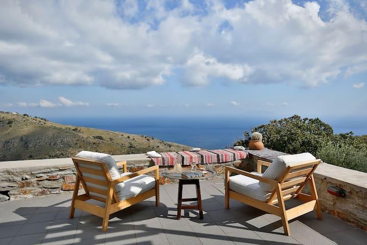 The Oak Tree House, sea view, Orkos Kea - Kea Kithnos - Ev