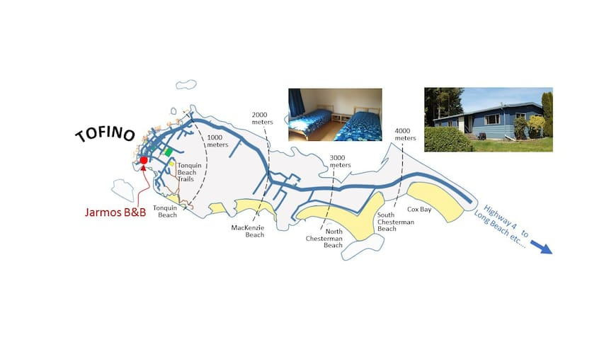 NW ROOM - 1 Double or 2 Single beds  (Your choice) - Tofino - Bed & Breakfast