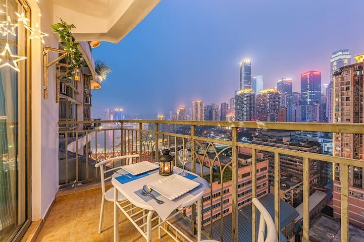朝天门近解放碑洪崖洞观南滨路江景夜景地中海风格一线江景一室套房 - Chongqing - Appartement
