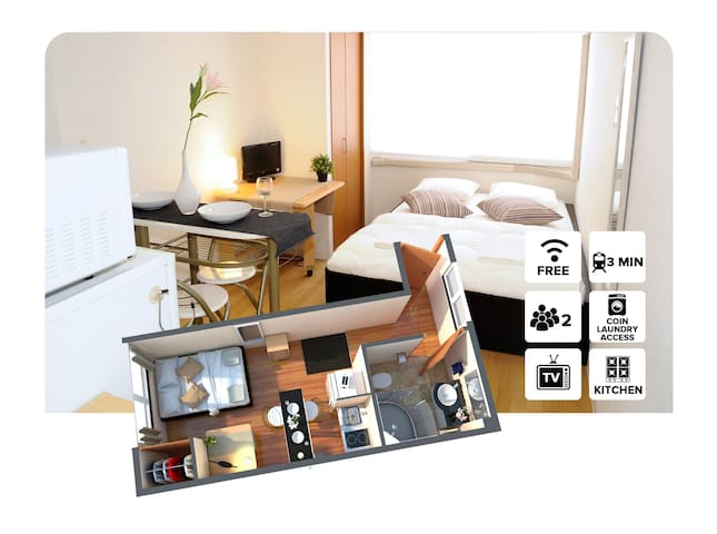#2A Private Apartment 1 stop from Namba station! - Osaka