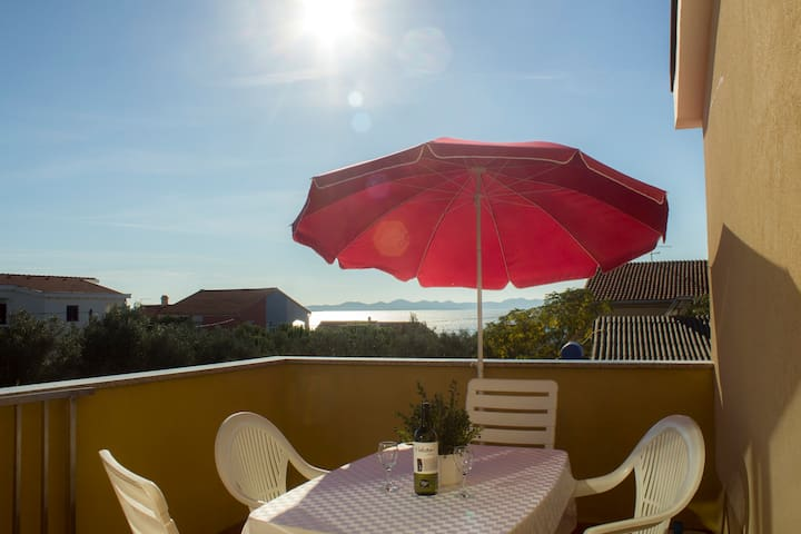 Apartment 2+2 with sea view only 150m from sea! - Ždrelac - Apartemen