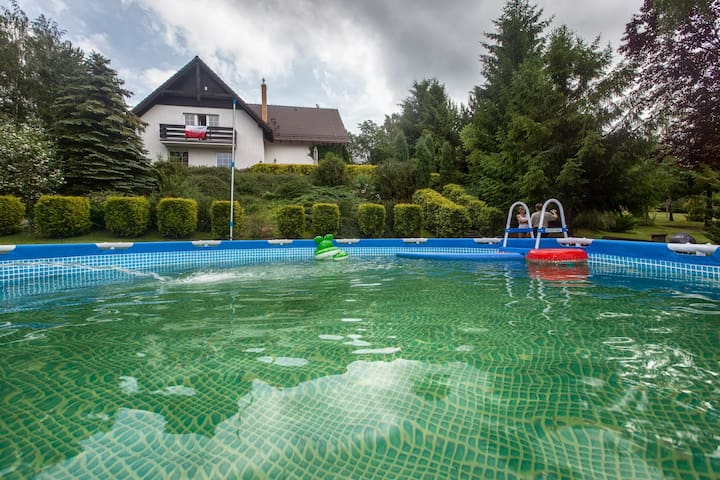 Lake's view house - with heated swimming pool - Łapalice