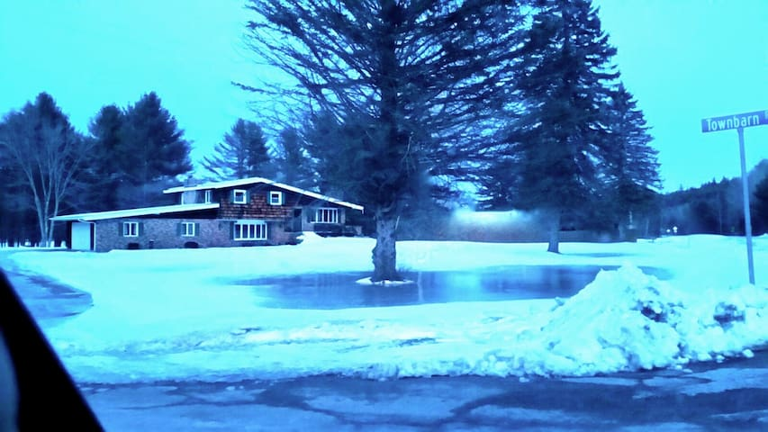 Classic Lakefront & Adirondack B&B: Queen Room - Northville - Oda + Kahvaltı