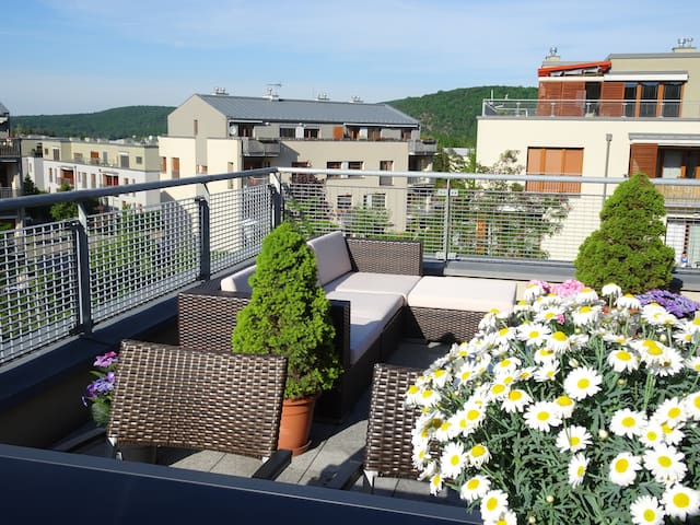 New roof-top terrace appt + garage /center 20min - Praga - Departamento