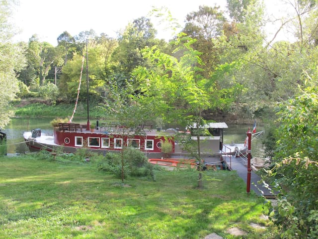 Barge with garden, kayak, bikes, private island - Poissy - Łódź