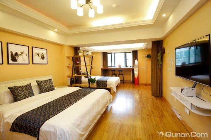 新天地优选精品双床一室公寓近钟鼓楼回民街火车站机场大巴停靠点A - Xi'an - Mobilyalı daire