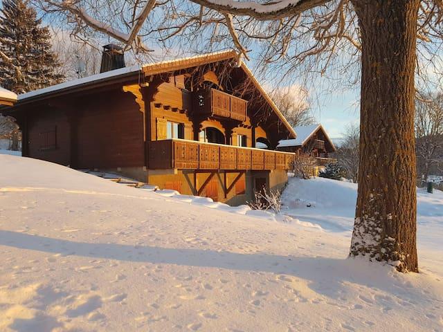 Bedrooms with private bathroom in peaceful Chalet - Cranves-Sales - Hytte (i sveitsisk stil)