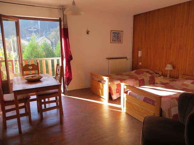 grand studio au calme avec terrasse plein centre - Brides-les-Bains - Apartemen