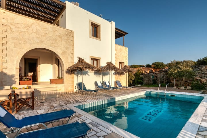 Aeolus villa on hill side, wonderful sea view - Lasithi - Villa