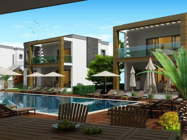 Havuzlu güvenlikli bir site de 2+1 - Bodrum - Appartement