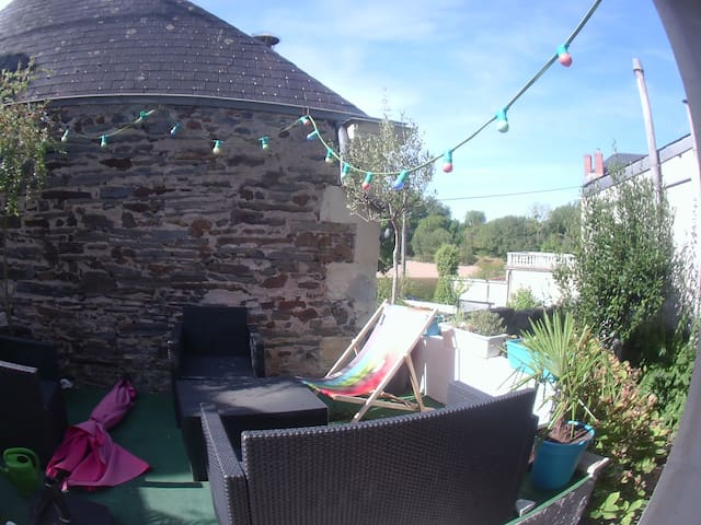 Maison, terrasse avec vue sur le Louet + wifi - Mûrs-Erigné - Hus