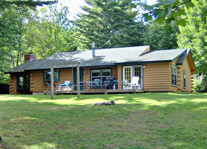 Adirondack Log Home  on shore of the Ausable River - Wilmington