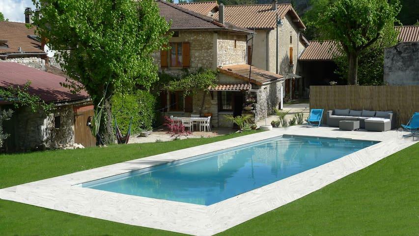 Privé zwembad met uitzicht op de panorama Vercors - Beauregard-Baret - Huis