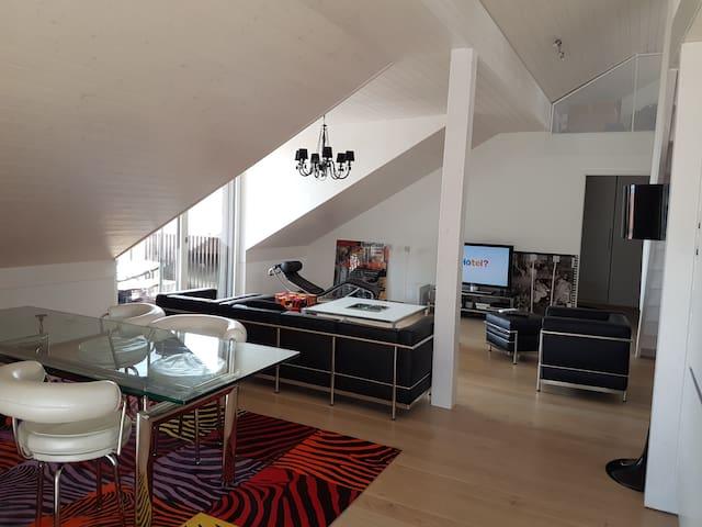 Grand appartement moderne, 4 ch., 10 mn Lausanne - Mex - Apartamento