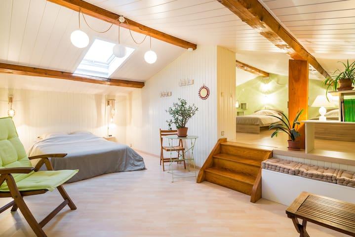Chambre lumineuse maison de village - Pélussin - Huis