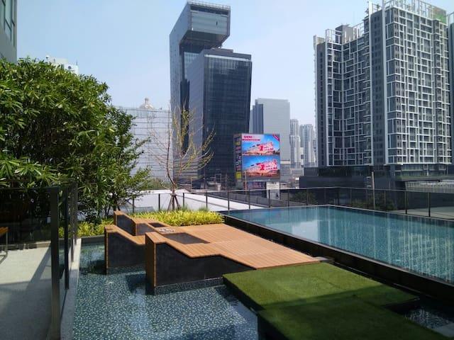 Lovely Studio 5 mins walk to Phra Ram9 MRT - Bangkok - Wohnung