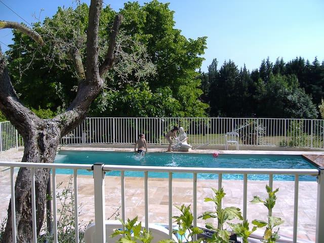 gite dans mas avec parc paysagé  poolhouse équipé - Saint-Privat-des-Vieux - Appartement